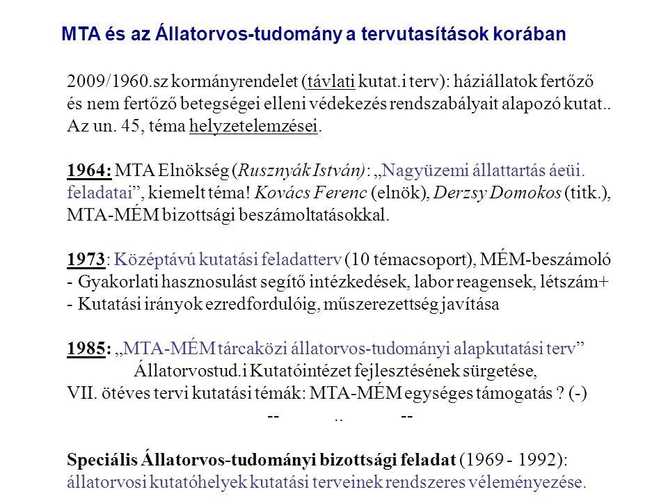 2009/1960.sz kormányrendelet (távlati kutat.i terv): háziállatok fertőző és nem fertőző betegségei elleni védekezés rendszabályait alapozó kutat.. Az