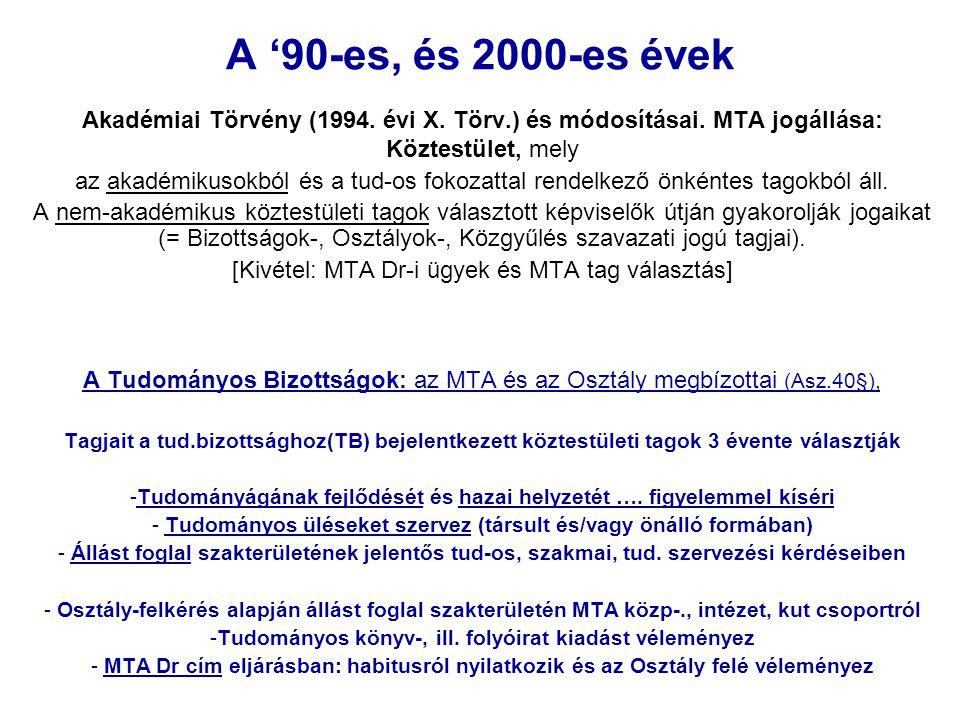 A '90-es, és 2000-es évek Akadémiai Törvény (1994. évi X. Törv.) és módosításai. MTA jogállása: Köztestület, mely az akadémikusokból és a tud-os fokoz