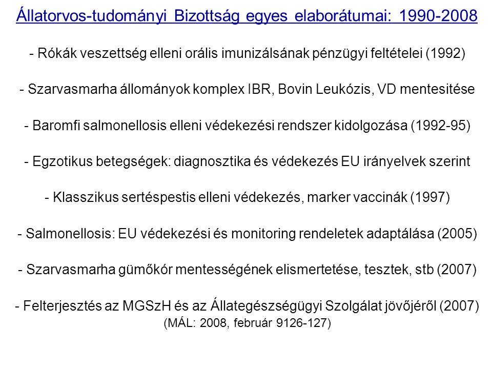 Állatorvos-tudományi Bizottság egyes elaborátumai: 1990-2008 - Rókák veszettség elleni orális imunizálsának pénzügyi feltételei (1992) - Szarvasmarha
