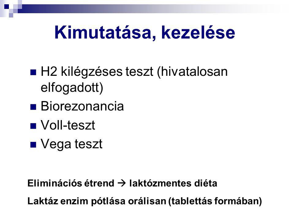 Kimutatása, kezelése H2 kilégzéses teszt (hivatalosan elfogadott) Biorezonancia Voll-teszt Vega teszt Eliminációs étrend  laktózmentes diéta Laktáz e