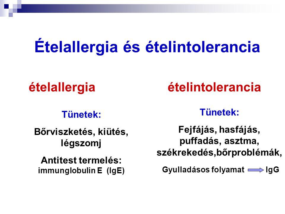 Ételallergia és ételintolerancia Tünetek: Bőrviszketés, kiütés, légszomj Antitest termelés: immunglobulin E (IgE) Tünetek: Fejfájás, hasfájás, puffadá