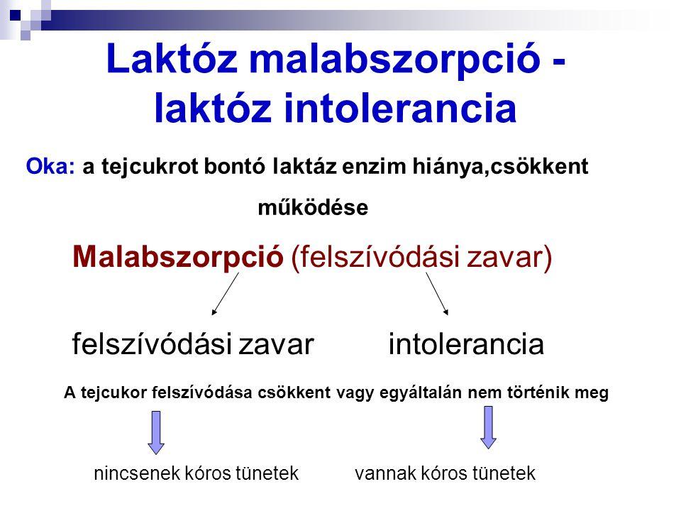 Laktóz-intolerancia A Föld lakosságának 70-80 %-a érintett Primer (élethosszig tartó) Szekunder (elmúlhat) Gyakran (kb.
