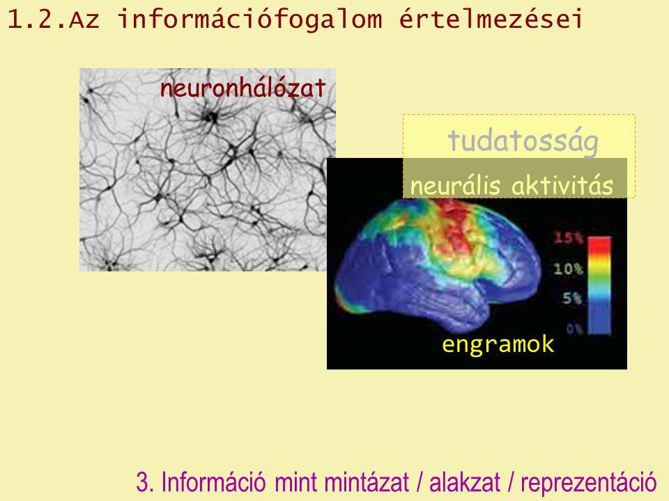 3. Információ mint mintázat / alakzat / reprezentáció neuronhálózat neurális aktivitás tudatosság engramok 1.2.Az információfogalom értelmezései