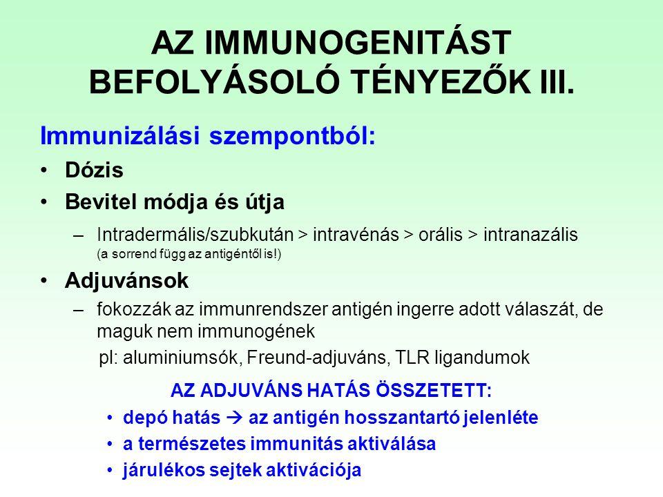 Immunizálási szempontból: Dózis Bevitel módja és útja –Intradermális/szubkután > intravénás > orális > intranazális (a sorrend függ az antigéntől is!)