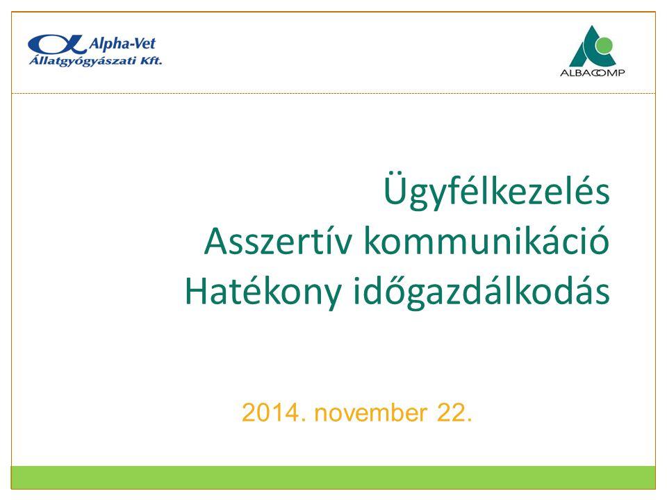 Ügyfélkezelés Asszertív kommunikáció Hatékony időgazdálkodás 2014. november 22.