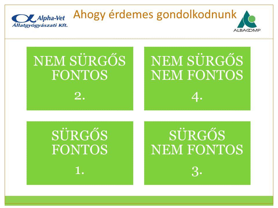 Ahogy érdemes gondolkodnunk NEM SÜRGŐS FONTOS 2. NEM SÜRGŐS NEM FONTOS 4. SÜRGŐS FONTOS 1. SÜRGŐS NEM FONTOS 3.