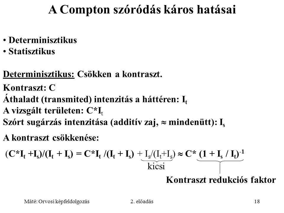 Máté: Orvosi képfeldolgozás2. előadás18 kicsi A Compton szóródás káros hatásai Determinisztikus Statisztikus Determinisztikus: Csökken a kontraszt. Ko