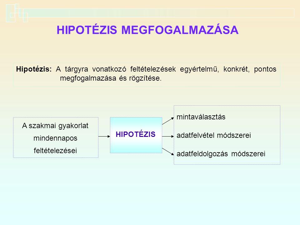 HIPOTÉZIS MEGFOGALMAZÁSA Hipotézis: A tárgyra vonatkozó feltételezések egyértelmű, konkrét, pontos megfogalmazása és rögzítése. A szakmai gyakorlat mi