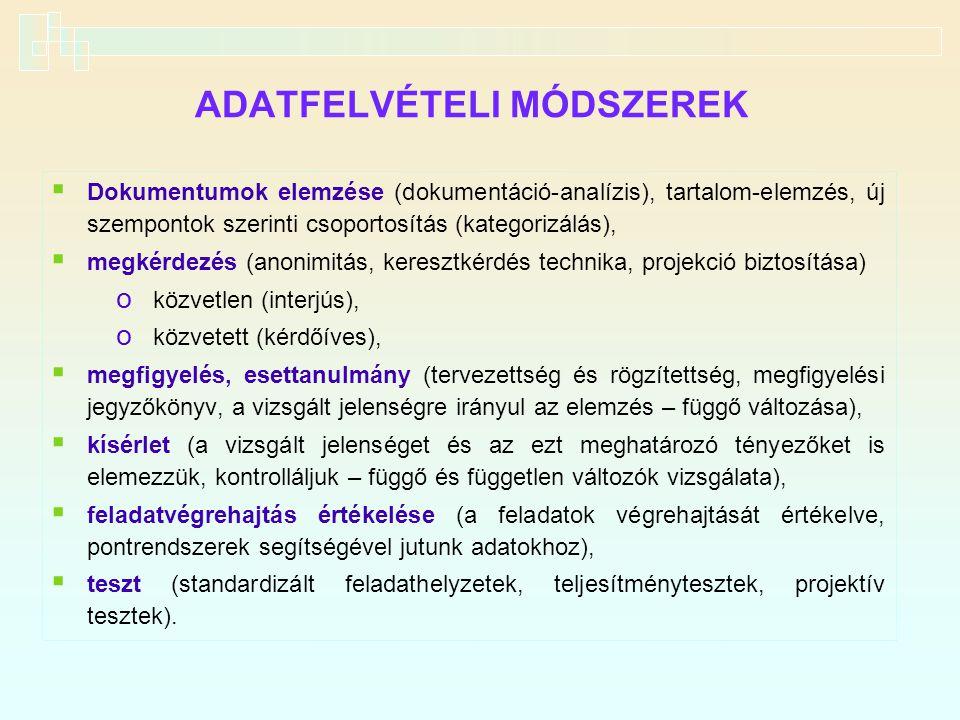 ADATFELVÉTELI MÓDSZEREK  Dokumentumok elemzése (dokumentáció-analízis), tartalom-elemzés, új szempontok szerinti csoportosítás (kategorizálás),  meg