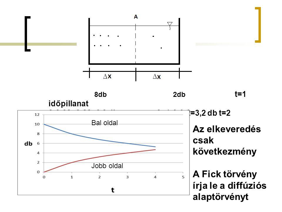 ∆∆ 8db 2db t=1 időpillanat 8-0,28+0,22=6,8 db 2+1,6-0,2=3,2 db t=2 időpillanat Bal oldal Jobb oldal Az elkeveredés csak következmény A Fick törvény írja le a diffúziós alaptörvényt