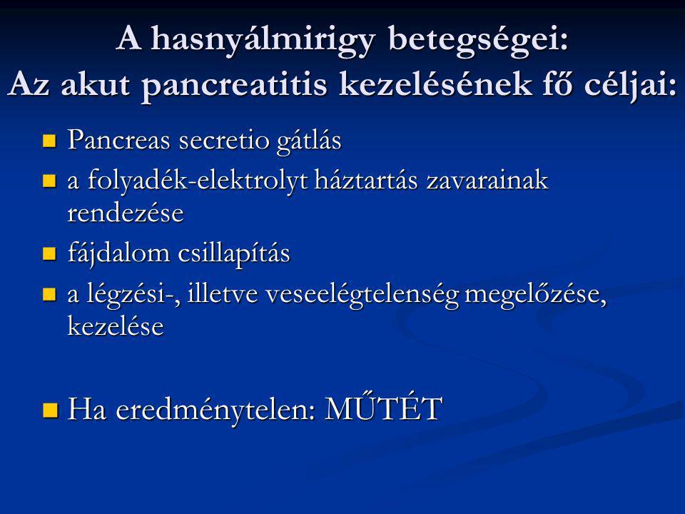 A hasnyálmirigy betegségei: Az acut pancreatitis 1. Hasi fájdalom 2. Hányás 3. Meteorismus 4. Subileus 5. Ascites 6. Láz 7. Shock 8. Icterus 9. Defenc