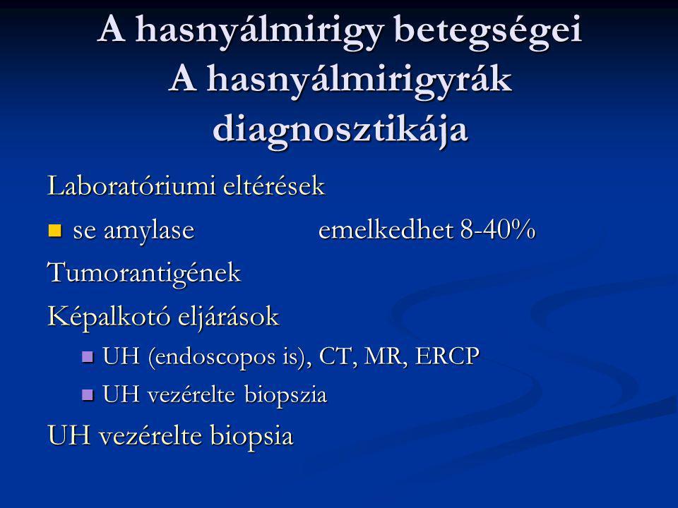 A hasnyálmirigy betegségei: Pancreas pseudocysta (álcysta, hámbélése nincs) Oka: Oka: acut pancreatitis acut pancreatitis trauma trauma Tünetei: Tünet