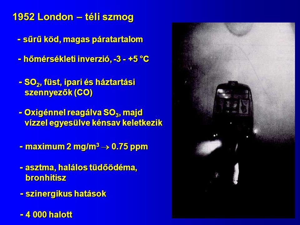 1952 London – téli szmog - 4 000 halott - maximum 2 mg/m 3  0.75 ppm - sűrű köd, magas páratartalom - hőmérsékleti inverzió, -3 - +5 °C - szinergikus hatások - SO 2, füst, ipari és háztartási szennyezők (CO) - Oxigénnel reagálva SO 3, majd vízzel egyesülve kénsav keletkezik - asztma, halálos tüdőödéma, bronhitisz