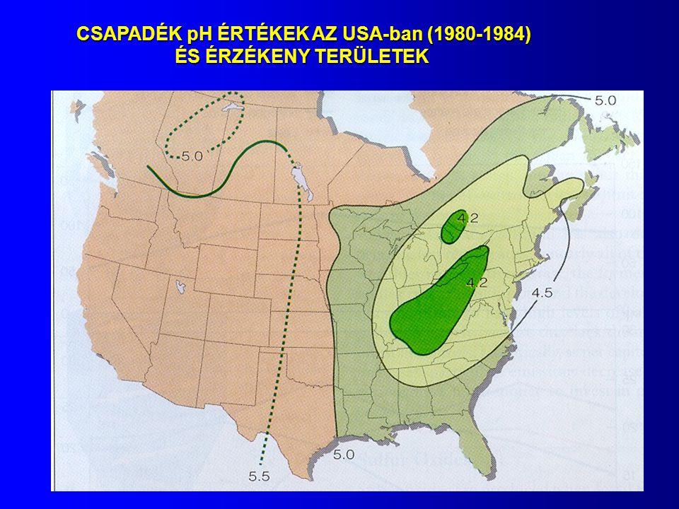 CSAPADÉK pH ÉRTÉKEK AZ USA-ban (1980-1984) ÉS ÉRZÉKENY TERÜLETEK ÉS ÉRZÉKENY TERÜLETEK