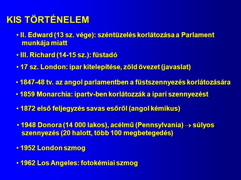 KIS TÖRTÉNELEM II. Edward (13 sz. vége): széntüzelés korlátozása a Parlament II. Edward (13 sz. vége): széntüzelés korlátozása a Parlament munkája mia