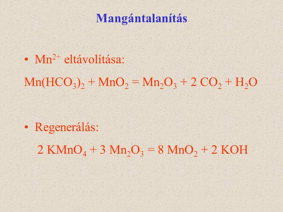 Mangántalanítás Mn 2+ eltávolítása: Mn(HCO 3 ) 2 + MnO 2 = Mn 2 O 3 + 2 CO 2 + H 2 O Regenerálás: 2 KMnO 4 + 3 Mn 2 O 3 = 8 MnO 2 + 2 KOH