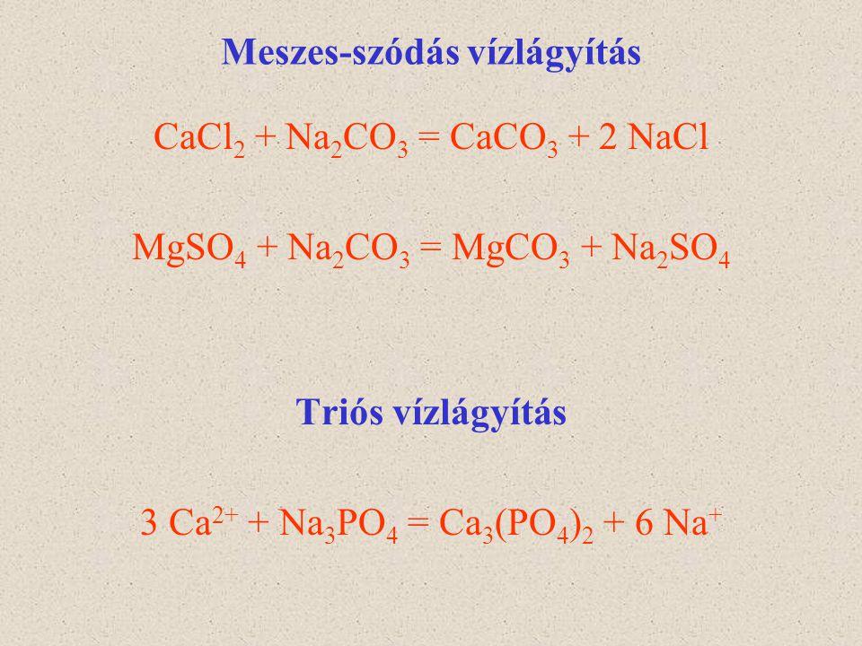 Meszes-szódás vízlágyítás CaCl 2 + Na 2 CO 3 = CaCO 3 + 2 NaCl MgSO 4 + Na 2 CO 3 = MgCO 3 + Na 2 SO 4 Triós vízlágyítás 3 Ca 2+ + Na 3 PO 4 = Ca 3 (P