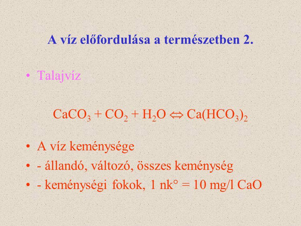 A víz előfordulása a természetben 2. Talajvíz CaCO 3 + CO 2 + H 2 O  Ca(HCO 3 ) 2 A víz keménysége - állandó, változó, összes keménység - keménységi