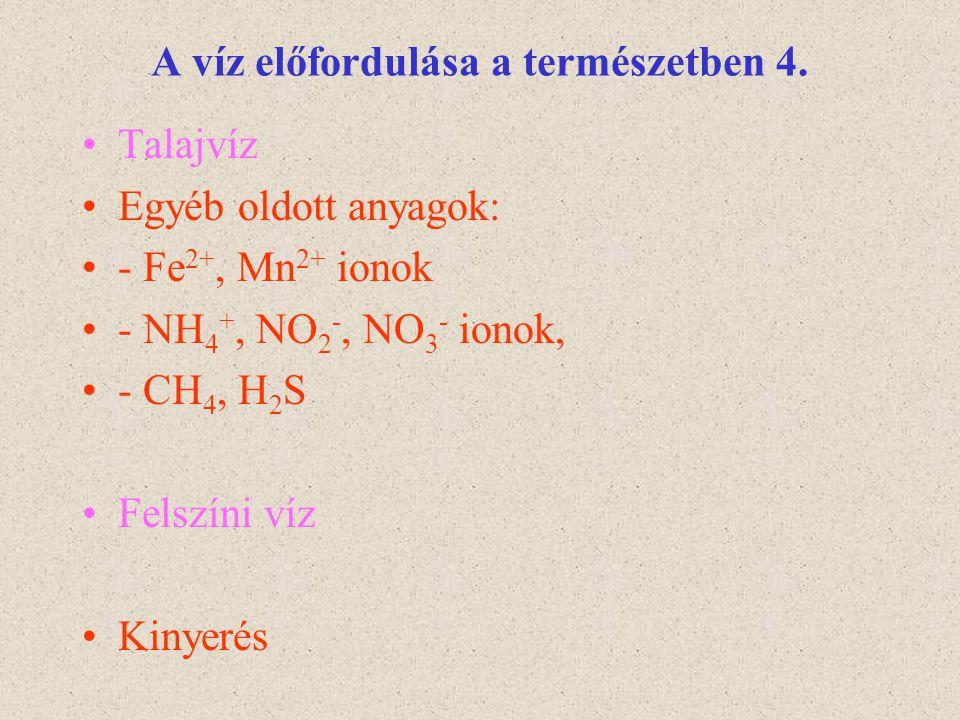 A víz előfordulása a természetben 4. Talajvíz Egyéb oldott anyagok: - Fe 2+, Mn 2+ ionok - NH 4 +, NO 2 -, NO 3 - ionok, - CH 4, H 2 S Felszíni víz Ki