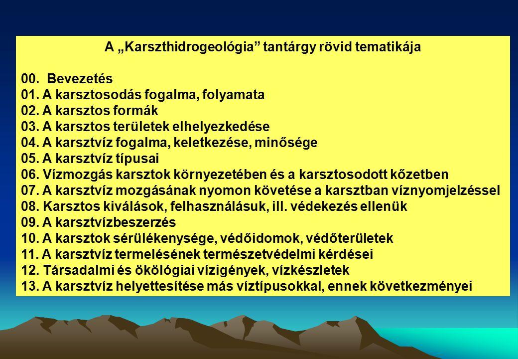 """A """"Karszthidrogeológia"""" tantárgy rövid tematikája 00. Bevezetés 01. A karsztosodás fogalma, folyamata 02. A karsztos formák 03. A karsztos területek e"""