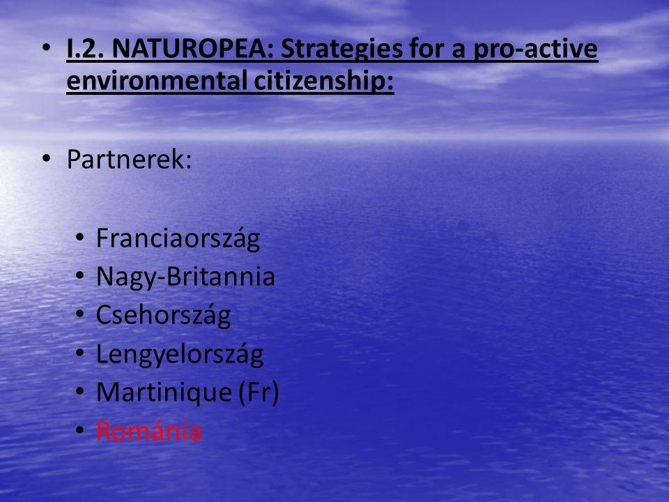 I.2. NATUROPEA: Strategies for a pro-active environmental citizenship: Partnerek: Franciaország Nagy-Britannia Csehország Lengyelország Martinique (Fr