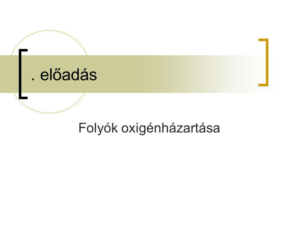 . előadás Folyók oxigénházartása