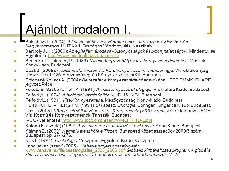 32 Ajánlott irodalom I. Balásházy L. (2004): A felszín alatti vizek védelmének szabályozása az EK-ban és Magyarországon. MHT XXII. Országos Vándorgyűl