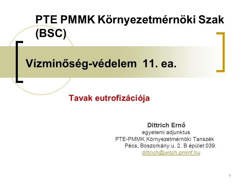 1 Vízminőség-védelem 11. ea. Tavak eutrofizációja Dittrich Ernő egyetemi adjunktus PTE-PMMK Környezetmérnöki Tanszék Pécs, Boszorkány u. 2. B épület 0