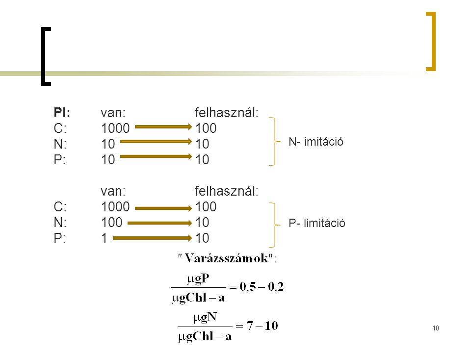 Pl: van:felhasznál: C:1000100 N:1010 P:1010 van:felhasznál: C:1000100 N:10010 P:110 N- imitáció P- limitáció 10