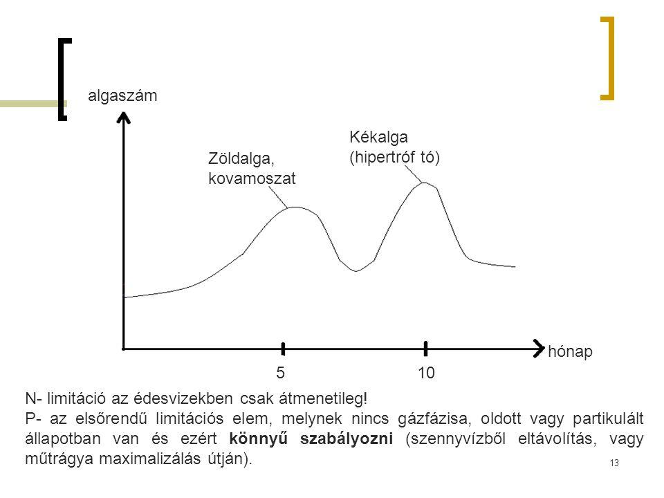 Zöldalga, kovamoszat Kékalga (hipertróf tó) 510 algaszám hónap N- limitáció az édesvizekben csak átmenetileg! P- az elsőrendű limitációs elem, melynek