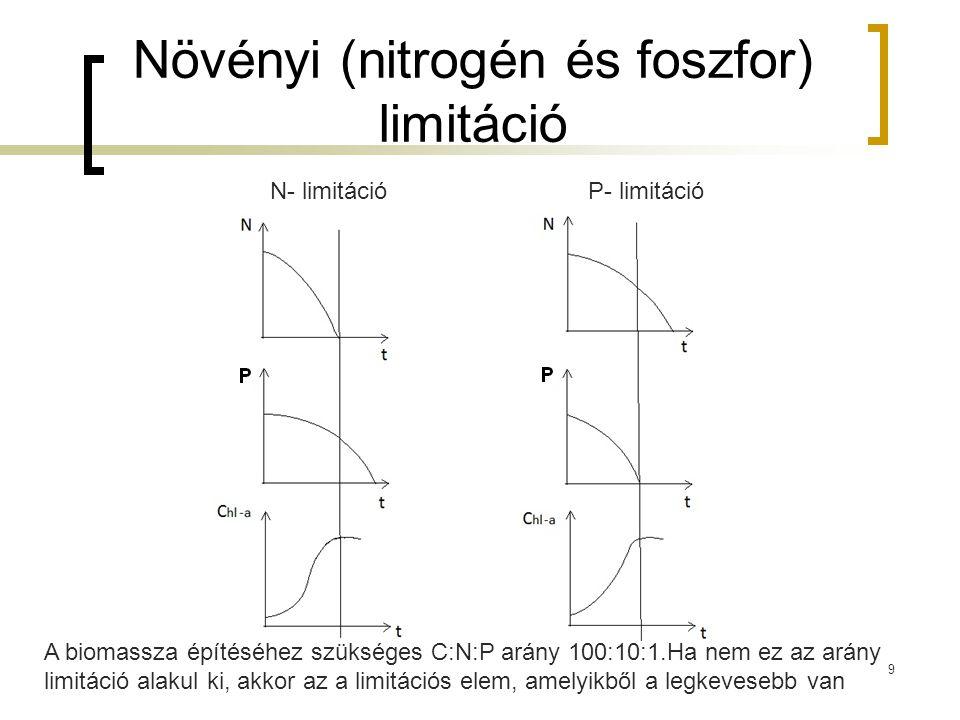 Növényi (nitrogén és foszfor) limitáció N- limitációP- limitáció A biomassza építéséhez szükséges C:N:P arány 100:10:1.Ha nem ez az arány limitáció alakul ki, akkor az a limitációs elem, amelyikből a legkevesebb van 9