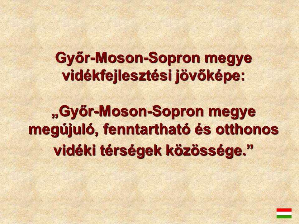 """Győr-Moson-Sopron megye vidékfejlesztési jövőképe: """"Győr-Moson-Sopron megye megújuló, fenntartható és otthonos vidéki térségek közössége."""""""