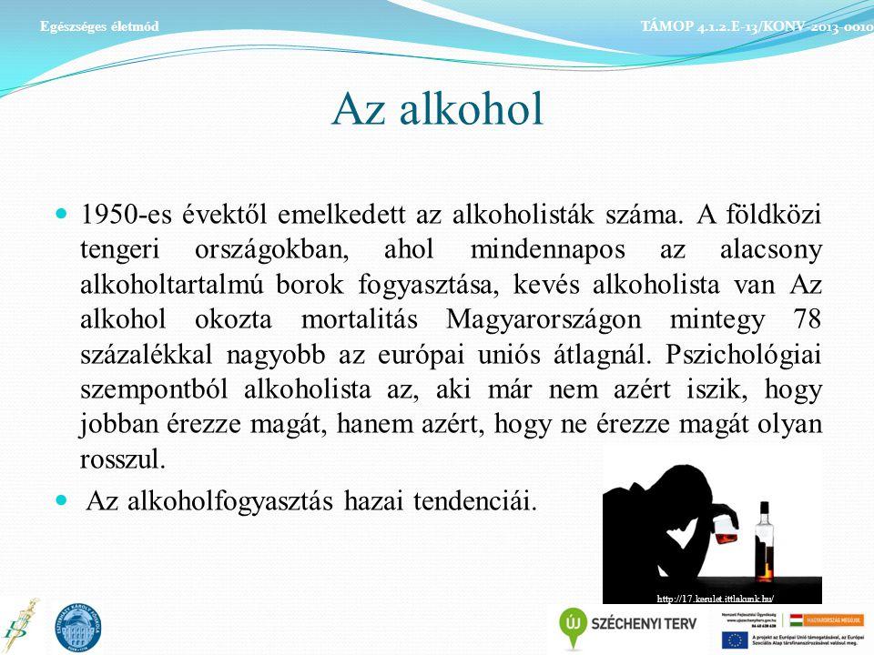 Az alkohol 1950-es évektől emelkedett az alkoholisták száma. A földközi tengeri országokban, ahol mindennapos az alacsony alkoholtartalmú borok fogyas