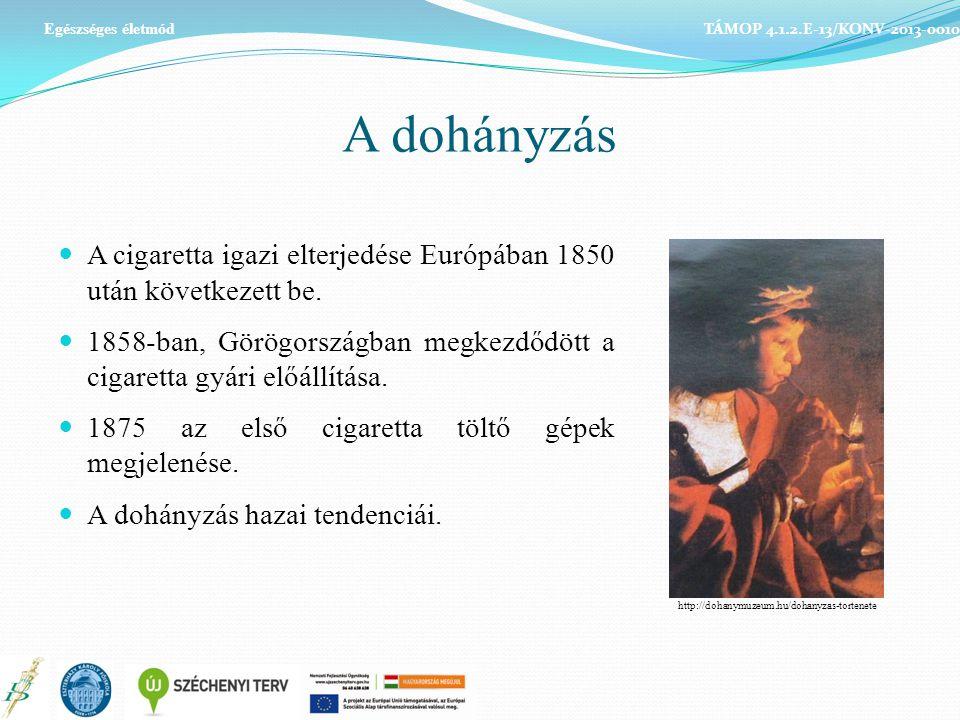 A dohányzás A cigaretta igazi elterjedése Európában 1850 után következett be. 1858-ban, Görögországban megkezdődött a cigaretta gyári előállítása. 187