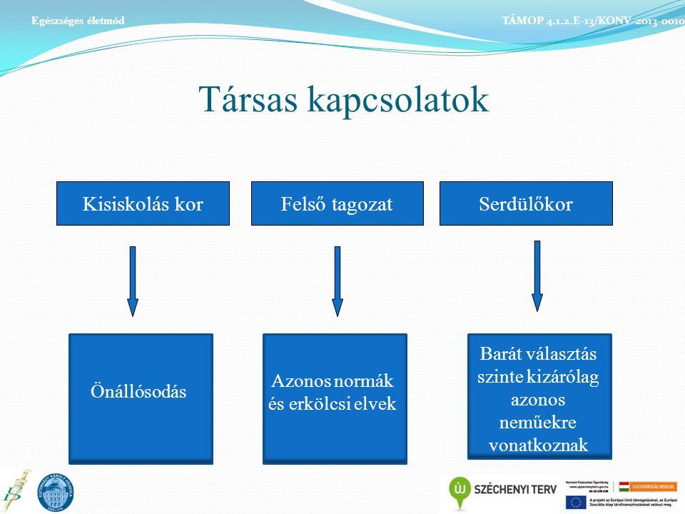 Társas kapcsolatok TÁMOP 4.1.2.E-13/KONV-2013-0010 Egészséges életmód Kisiskolás korFelső tagozatSerdülőkor Önállósodás Azonos normák és erkölcsi elve