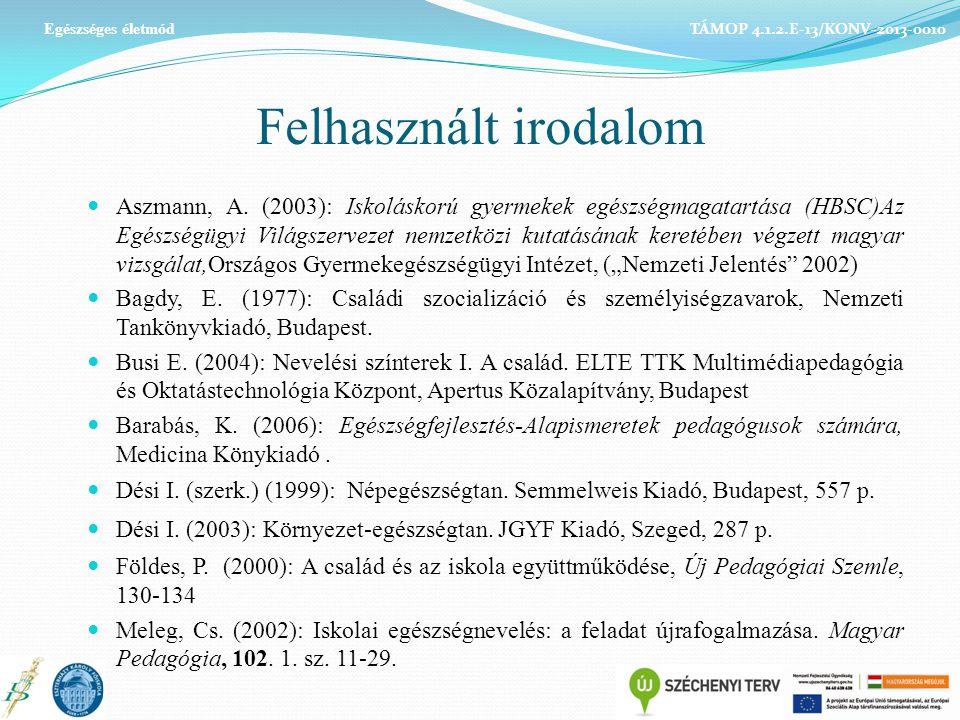 Felhasznált irodalom Aszmann, A. (2003): Iskoláskorú gyermekek egészségmagatartása (HBSC)Az Egészségügyi Világszervezet nemzetközi kutatásának keretéb