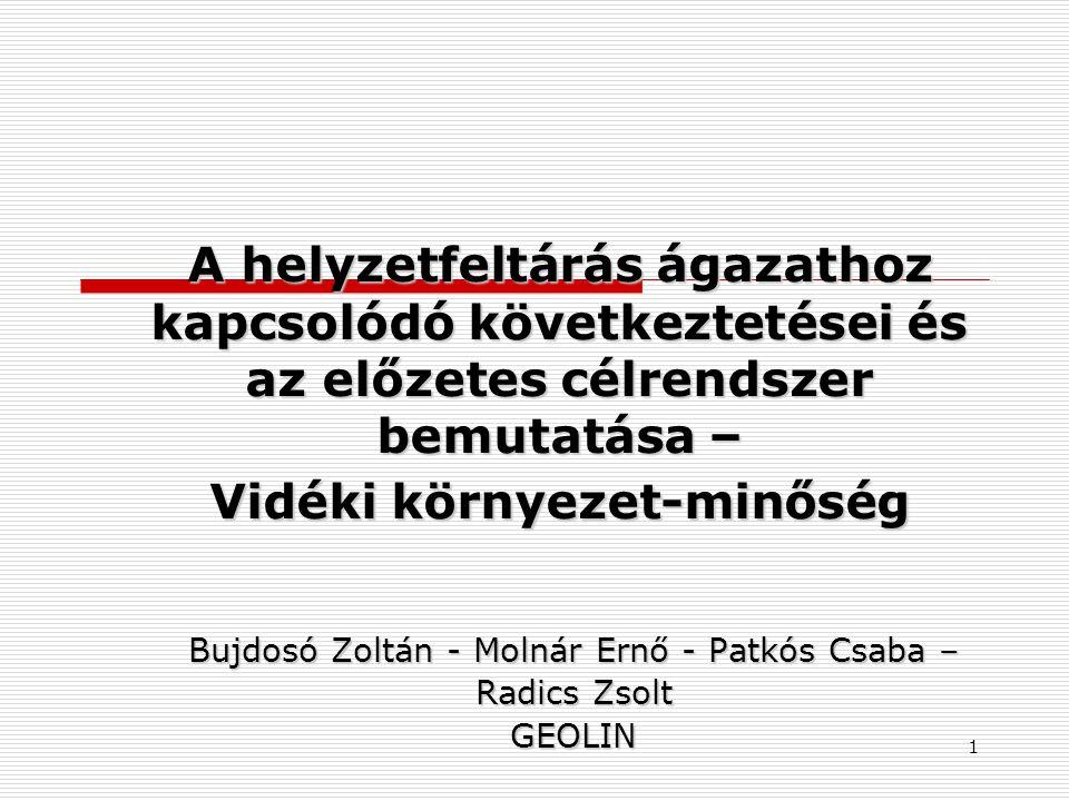 A helyzetfeltárás ágazathoz kapcsolódó következtetései és az előzetes célrendszer bemutatása – Vidéki környezet-minőség Bujdosó Zoltán - Molnár Ernő - Patkós Csaba – Radics Zsolt GEOLIN 1