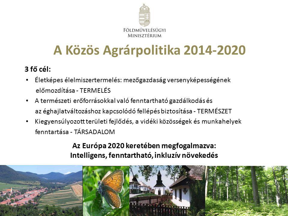 A Közös Agrárpolitika 2014-2020 3 fő cél: Életképes élelmiszertermelés: mezőgazdaság versenyképességének előmozdítása - TERMELÉS A természeti erőforrá