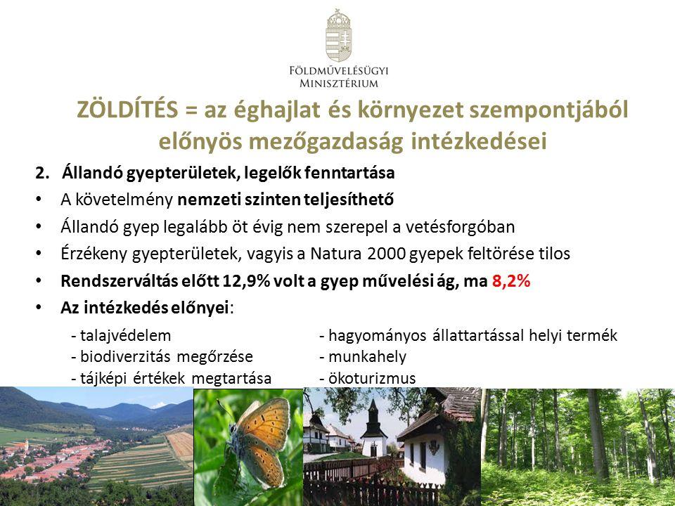 ZÖLDÍTÉS = az éghajlat és környezet szempontjából előnyös mezőgazdaság intézkedései 2.Állandó gyepterületek, legelők fenntartása A követelmény nemzeti