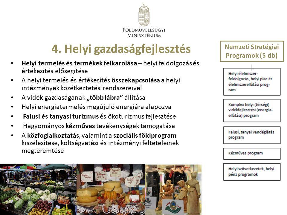4. Helyi gazdaságfejlesztés Helyi termelés és termékek felkarolása – helyi feldolgozás és értékesítés elősegítése A helyi termelés és értékesítés össz