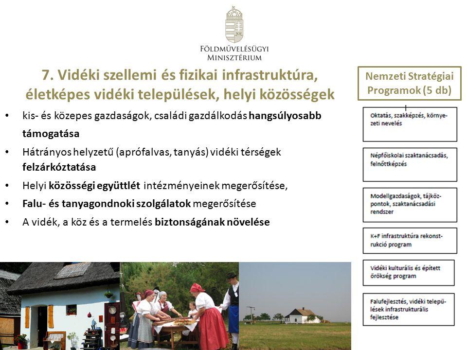 7. Vidéki szellemi és fizikai infrastruktúra, életképes vidéki települések, helyi közösségek kis- és közepes gazdaságok, családi gazdálkodás hangsúlyo
