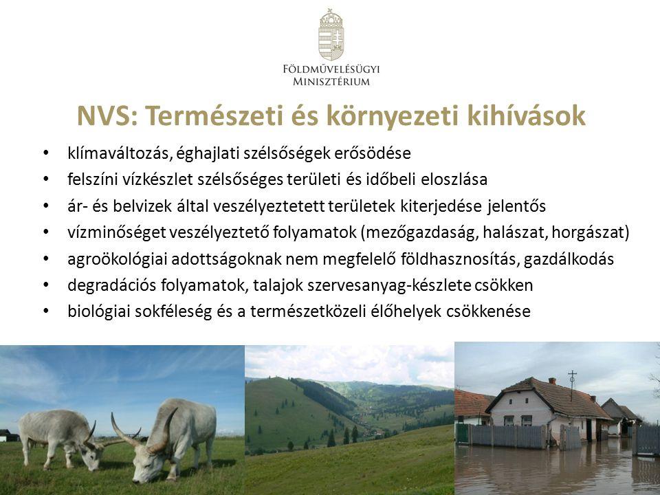 NVS: Természeti és környezeti kihívások klímaváltozás, éghajlati szélsőségek erősödése felszíni vízkészlet szélsőséges területi és időbeli eloszlása á