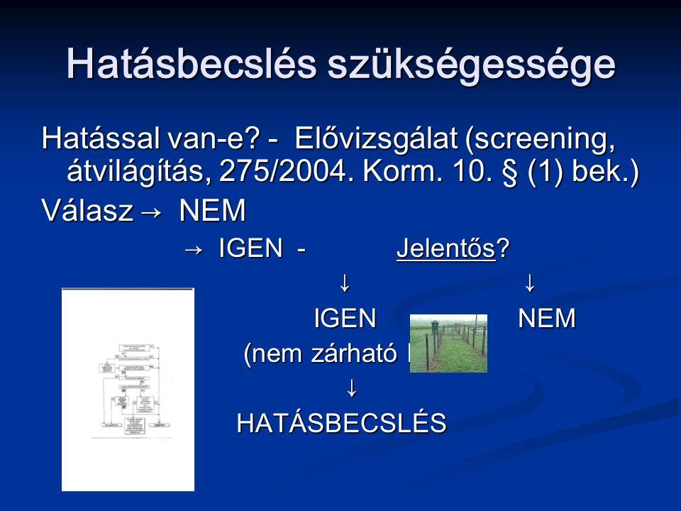 Hatásbecslés szükségessége Hatással van-e? - Elővizsgálat (screening, átvilágítás, 275/2004. Korm. 10. § (1) bek.) Válasz → NEM → IGEN - Jelentős? → I