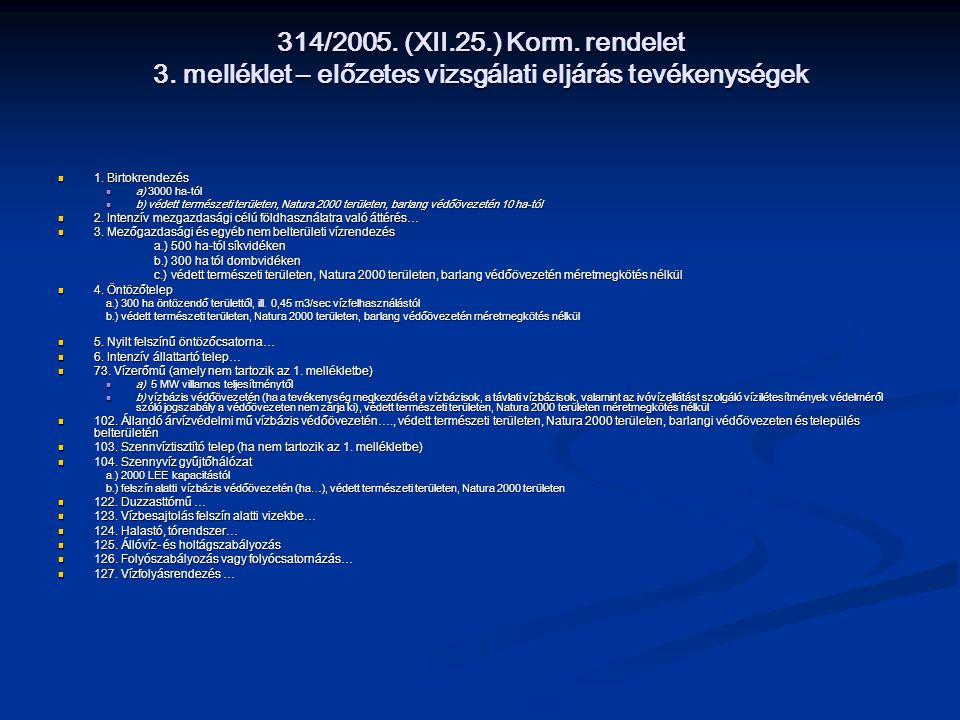 314/2005. (XII.25.) Korm. rendelet 3. melléklet – előzetes vizsgálati eljárás tevékenységek 1. Birtokrendezés 1. Birtokrendezés a) 3000 ha-tól a) 3000