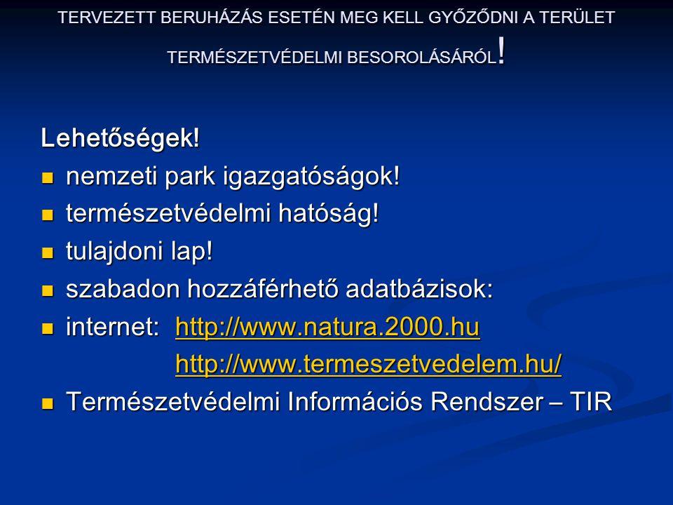 TERVEZETT BERUHÁZÁS ESETÉN MEG KELL GYŐZŐDNI A TERÜLET TERMÉSZETVÉDELMI BESOROLÁSÁRÓL ! Lehetőségek! nemzeti park igazgatóságok! nemzeti park igazgató