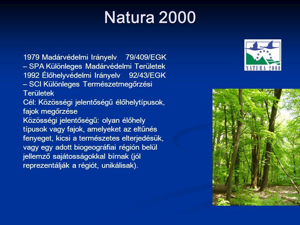 Natura 2000 1979 Madárvédelmi Irányelv 79/409/EGK – SPA Különleges Madárvédelmi Területek 1992 Élőhelyvédelmi Irányelv 92/43/EGK – SCI Különleges Term