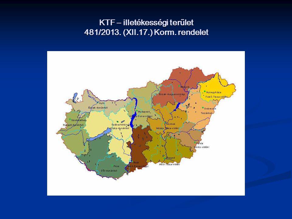 KTF – illetékességi terület 481/2013. (XII.17.) Korm. rendelet
