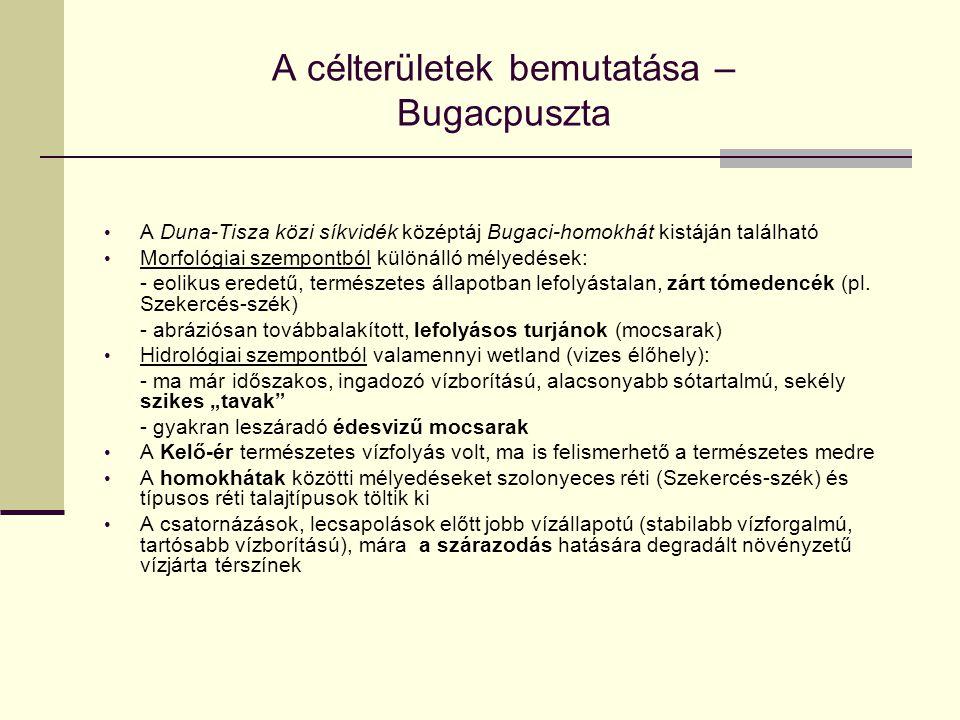 A célterületek bemutatása – Bugacpuszta A Duna-Tisza közi síkvidék középtáj Bugaci-homokhát kistáján található Morfológiai szempontból különálló mélye