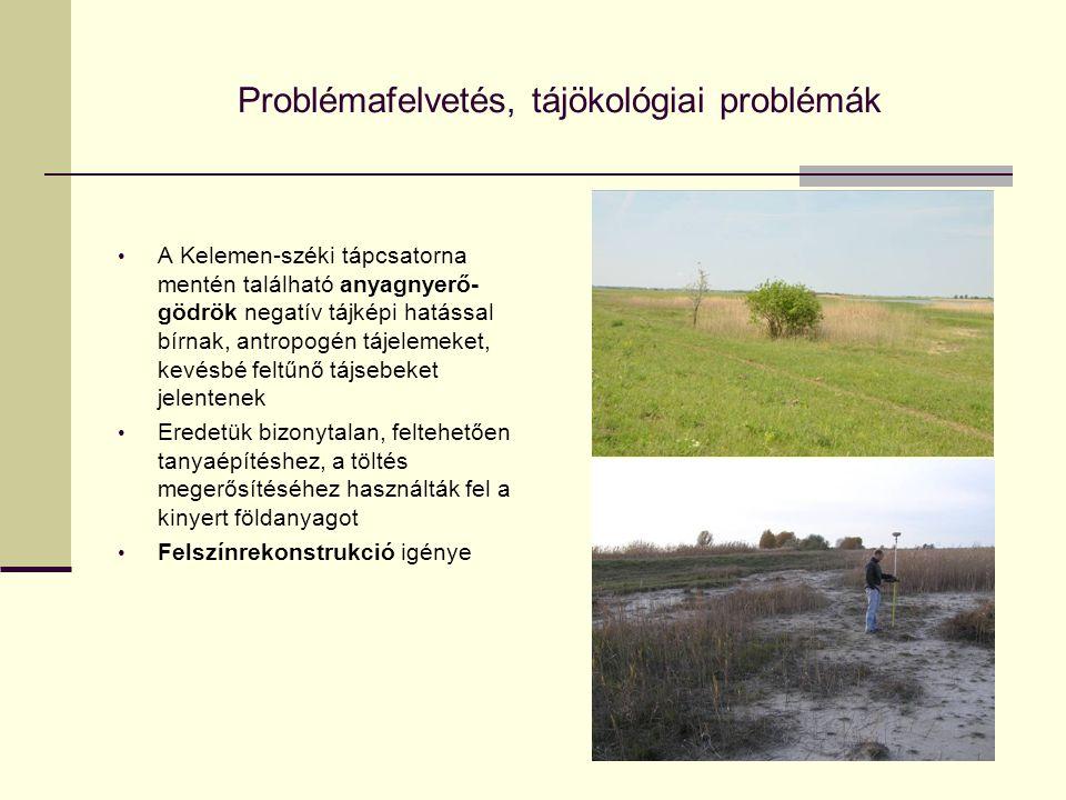 Problémafelvetés, tájökológiai problémák A Kelemen-széki tápcsatorna mentén található anyagnyerő- gödrök negatív tájképi hatással bírnak, antropogén t