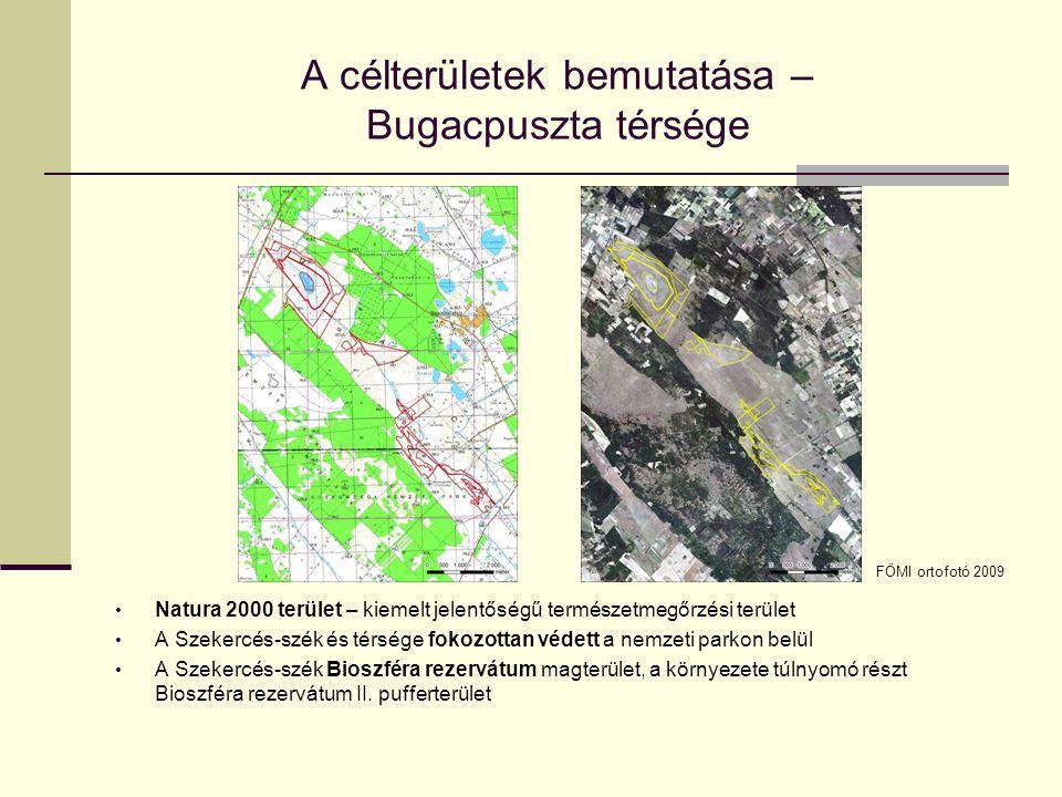 A célterületek bemutatása – Bugacpuszta A Duna-Tisza közi síkvidék középtáj Bugaci-homokhát kistáján található Morfológiai szempontból különálló mélyedések: - eolikus eredetű, természetes állapotban lefolyástalan, zárt tómedencék (pl.
